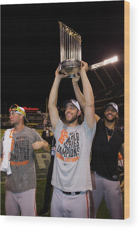 Playoffs Wood Print featuring the photograph Mike Morse, Ryan Vogelsong, And Madison Bumgarner by Brad Mangin