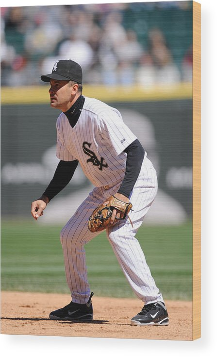American League Baseball Wood Print featuring the photograph Minnesota Twins v. Chicago White Sox by Ron Vesely