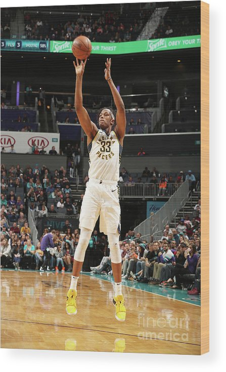 Nba Pro Basketball Wood Print featuring the photograph Myles Turner by Kent Smith