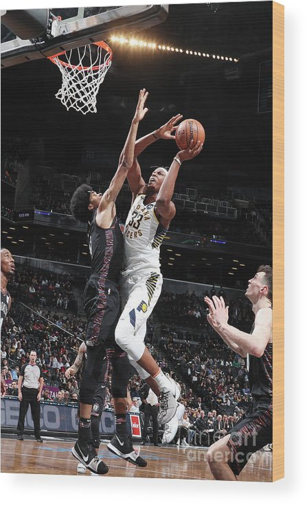Nba Pro Basketball Wood Print featuring the photograph Myles Turner by Nathaniel S. Butler