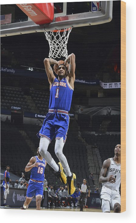 Nba Pro Basketball Wood Print featuring the photograph New York Knicks v San Antonio Spurs by Logan Riely