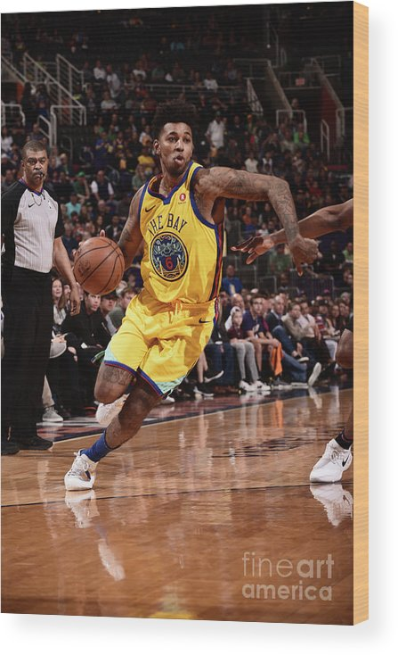 Sports Ball Wood Print featuring the photograph Nick Young by Michael Gonzales