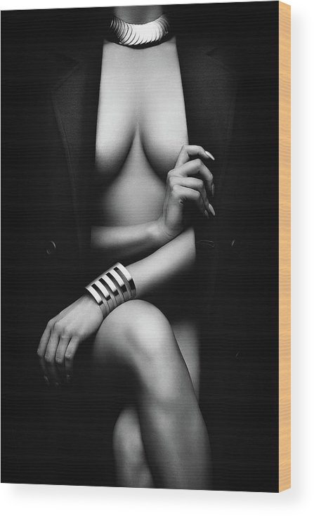 Woman Wood Print featuring the photograph Nude Woman with jacket 1 by Johan Swanepoel