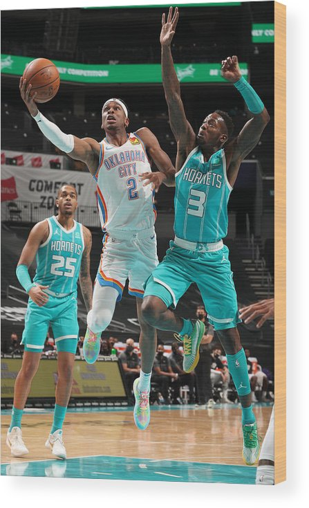 Nba Pro Basketball Wood Print featuring the photograph Oklahoma City Thunder v Charlotte Hornets by Kent Smith