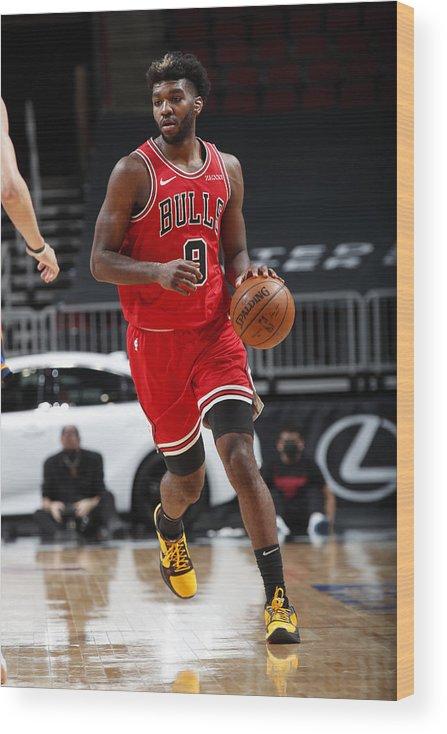 Nba Pro Basketball Wood Print featuring the photograph Oklahoma City Thunder v Chicago Bulls by Jeff Haynes