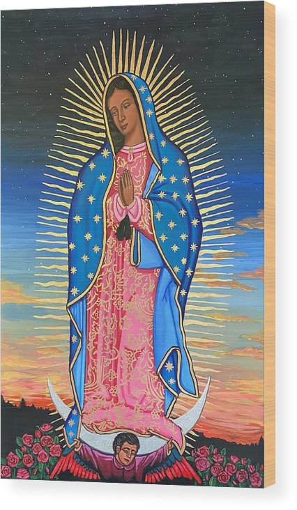Wood Print featuring the painting Our Lady of Guadalupe by Kelly Latimore