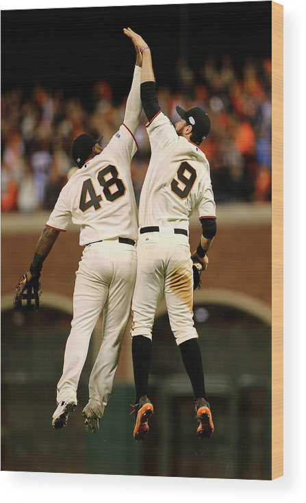 San Francisco Wood Print featuring the photograph Pablo Sandoval and Brandon Belt by Elsa