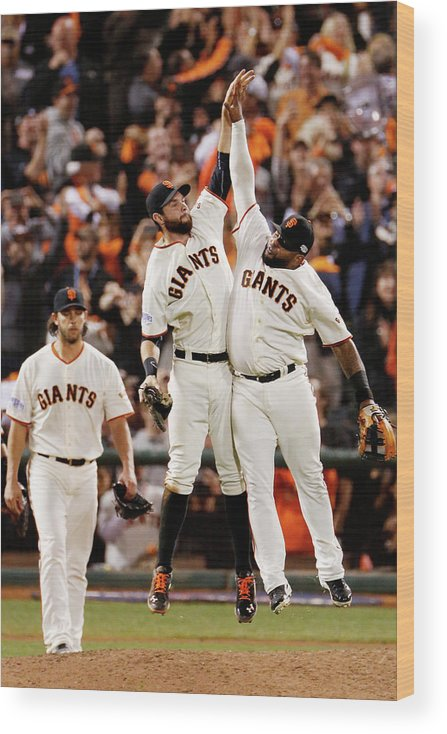 San Francisco Wood Print featuring the photograph Pablo Sandoval and Brandon Belt by Thearon W. Henderson