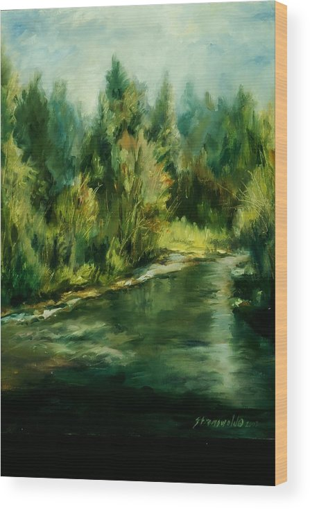 Wood Print featuring the painting Palouse Stream by Ruth Stromswold