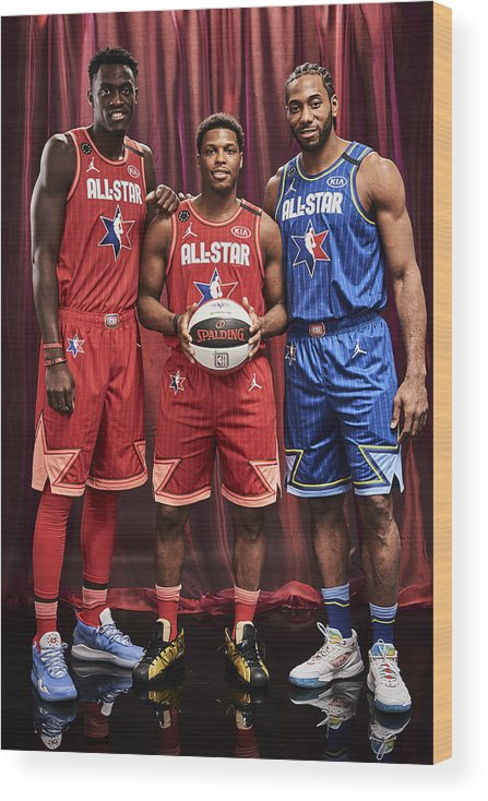 Nba Pro Basketball Wood Print featuring the photograph Pascal Siakam, Kawhi Leonard, and Kyle Lowry by Jennifer Pottheiser
