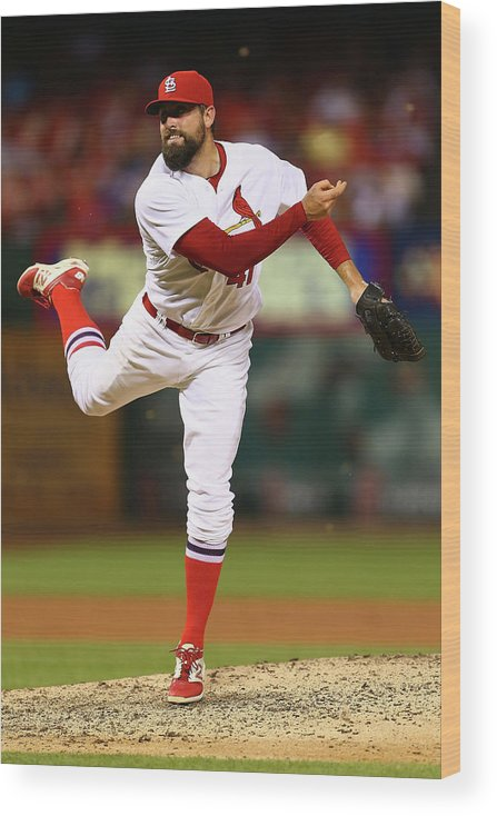 St. Louis Cardinals Wood Print featuring the photograph Pat Neshek by Dilip Vishwanat