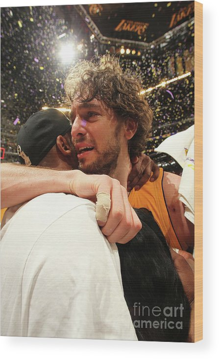 Playoffs Wood Print featuring the photograph Pau Gasol and Kobe Bryant by Nathaniel S. Butler