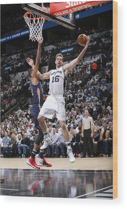 Nba Pro Basketball Wood Print featuring the photograph Pau Gasol by Chris Covatta