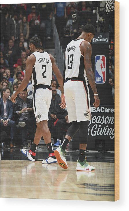 Nba Pro Basketball Wood Print featuring the photograph Paul George and Kawhi Leonard by Andrew D. Bernstein