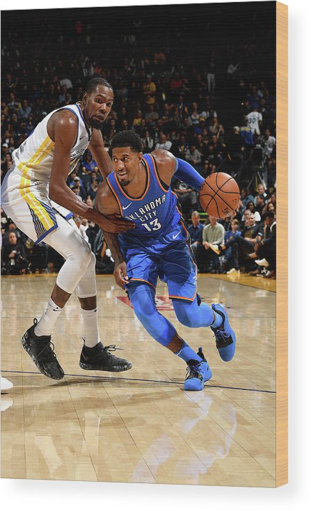 Nba Pro Basketball Wood Print featuring the photograph Paul George and Kevin Durant by Noah Graham