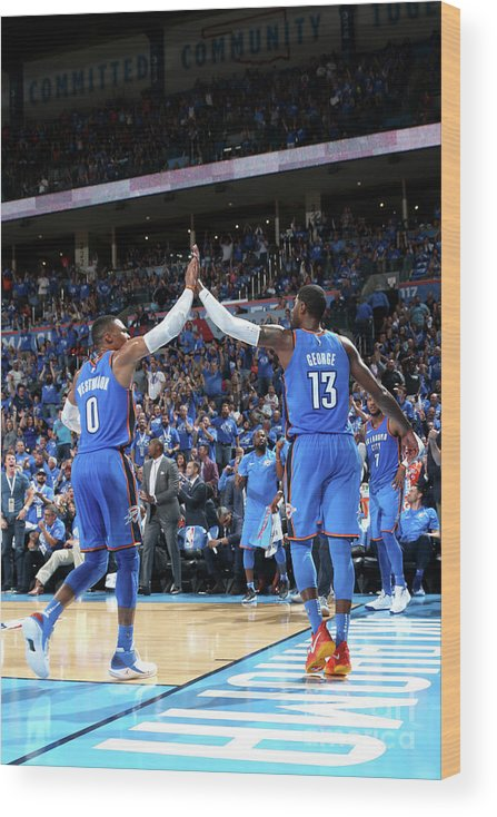 Nba Pro Basketball Wood Print featuring the photograph Paul George and Russell Westbrook by Layne Murdoch