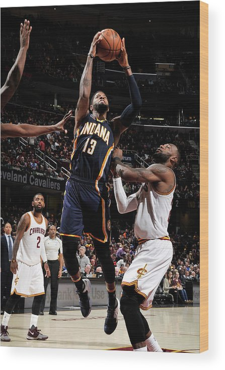 Nba Pro Basketball Wood Print featuring the photograph Paul George by David Liam Kyle