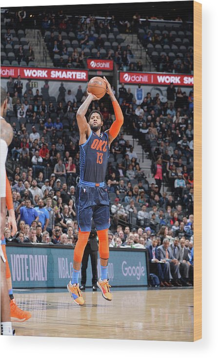 Nba Pro Basketball Wood Print featuring the photograph Paul George by Mark Sobhani