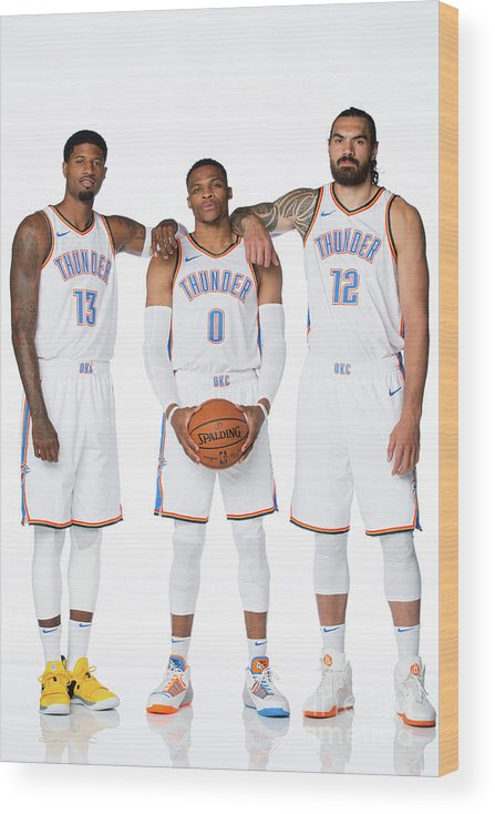 Media Day Wood Print featuring the photograph Paul George, Russell Westbrook, and Steven Adams by Nba Photos