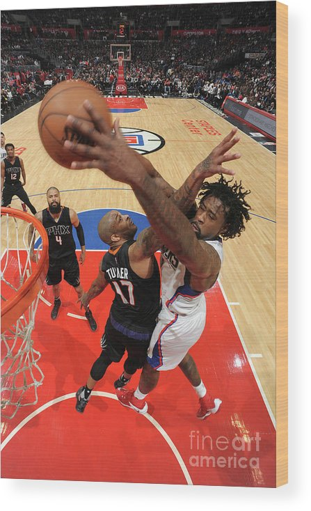 Nba Pro Basketball Wood Print featuring the photograph P.j. Tucker and Deandre Jordan by Andrew D. Bernstein