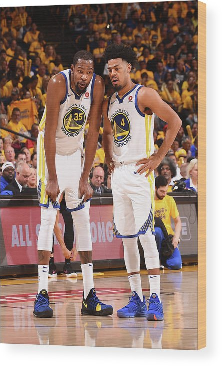 Playoffs Wood Print featuring the photograph Quinn Cook and Kevin Durant by Noah Graham