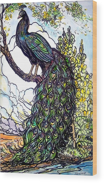 Peacock Wood Print featuring the painting Rainbow by Jose Manuel Abraham