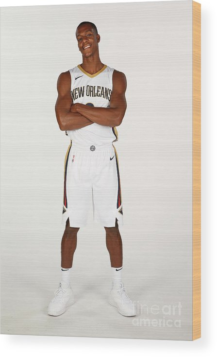 Media Day Wood Print featuring the photograph Rajon Rondo by Jonathan Bachman