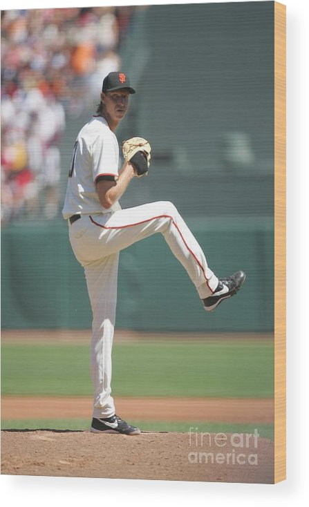 San Francisco Wood Print featuring the photograph Randy Johnson by Michael Zagaris