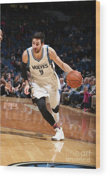 Nba Pro Basketball Wood Print featuring the photograph Ricky Rubio by David Sherman