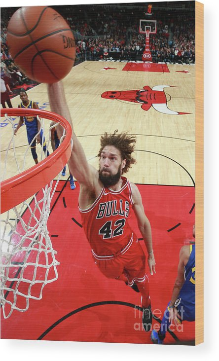 Nba Pro Basketball Wood Print featuring the photograph Robin Lopez by Jeff Haynes
