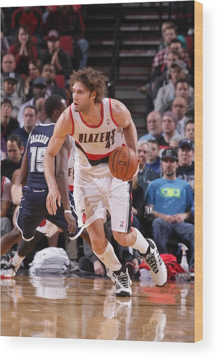 Nba Pro Basketball Wood Print featuring the photograph Robin Lopez by Sam Forencich