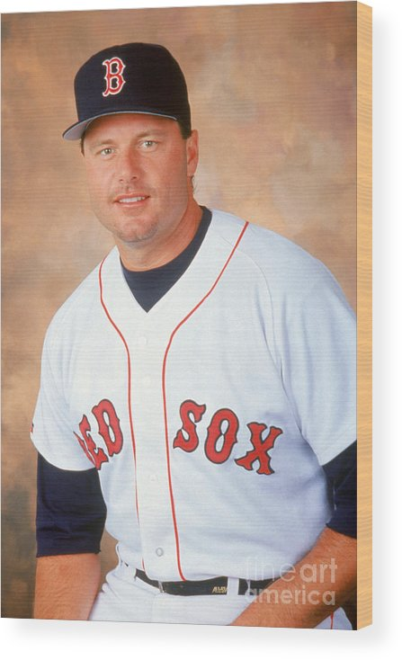 American League Baseball Wood Print featuring the photograph Roger Clemens by Mlb Photos