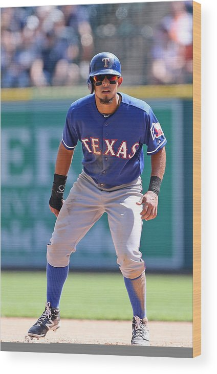 American League Baseball Wood Print featuring the photograph Rougned Odor by Leon Halip