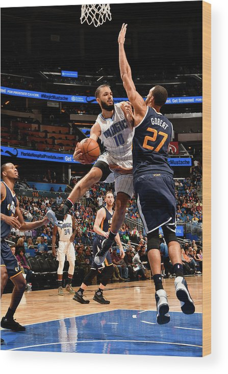 Nba Pro Basketball Wood Print featuring the photograph Rudy Gobert and Evan Fournier by Fernando Medina