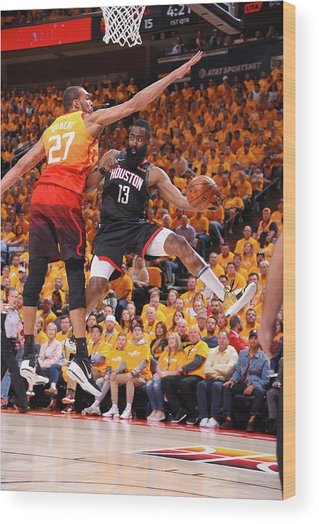 Playoffs Wood Print featuring the photograph Rudy Gobert and James Harden by Bill Baptist