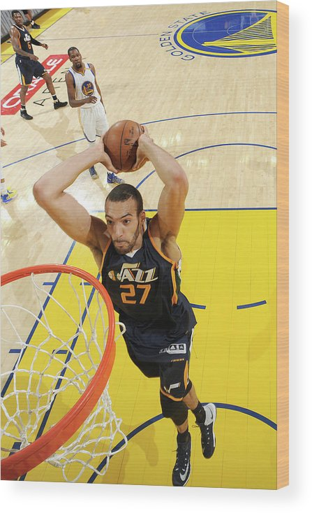Playoffs Wood Print featuring the photograph Rudy Gobert by Andrew D. Bernstein