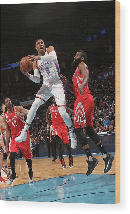 Nba Pro Basketball Wood Print featuring the photograph Russell Westbrook and James Harden by Layne Murdoch