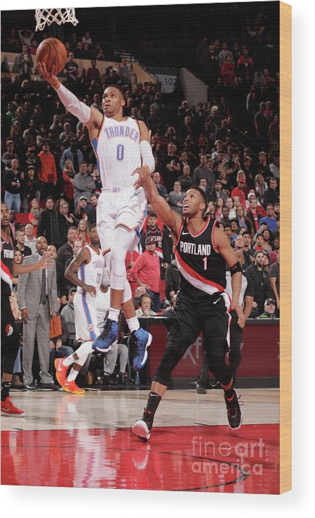 Nba Pro Basketball Wood Print featuring the photograph Russell Westbrook by Cameron Browne