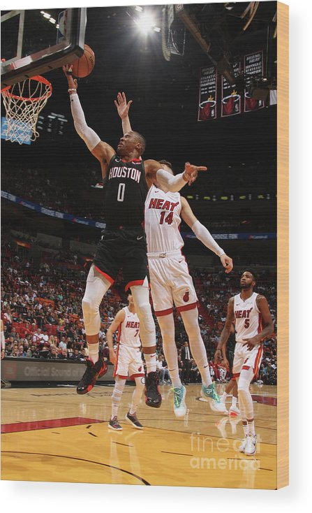 Nba Pro Basketball Wood Print featuring the photograph Russell Westbrook by Oscar Baldizon