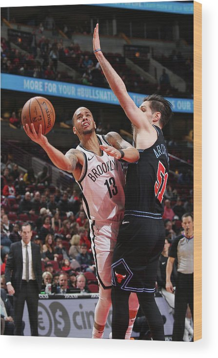 Nba Pro Basketball Wood Print featuring the photograph Ryan Arcidiacono and Shabazz Napier by Gary Dineen