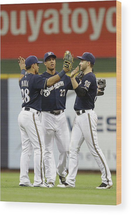 People Wood Print featuring the photograph Ryan Braun, Gerardo Parra, and Carlos Gomez by Mike Mcginnis