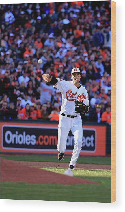 American League Baseball Wood Print featuring the photograph Ryan Flaherty by Rob Carr