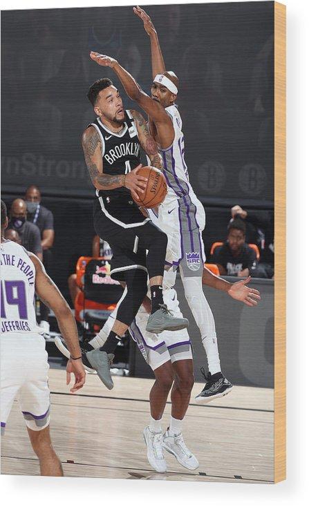 Nba Pro Basketball Wood Print featuring the photograph Sacramento Kings v Brooklyn Nets by David Sherman
