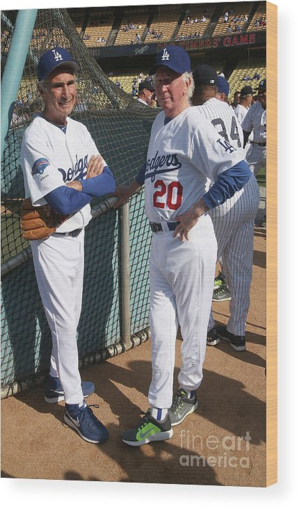 Sandy Koufax Wood Print featuring the photograph Sandy Koufax and Don Sutton by Stephen Dunn