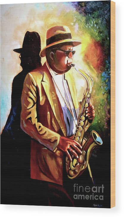 Sax Wood Print featuring the painting Sax Player by Jose Manuel Abraham