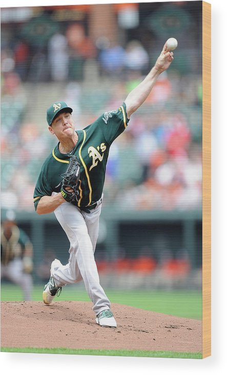 American League Baseball Wood Print featuring the photograph Scott Kazmir by Greg Fiume