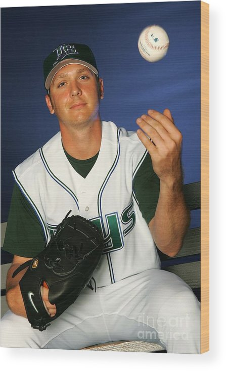 Media Day Wood Print featuring the photograph Scott Kazmir by Jamie Squire