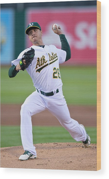 American League Baseball Wood Print featuring the photograph Scott Kazmir by Jason O. Watson