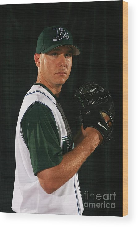 Media Day Wood Print featuring the photograph Scott Kazmir by Nick Laham