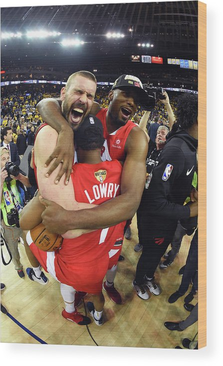 Playoffs Wood Print featuring the photograph Serge Ibaka, Marc Gasol, and Kyle Lowry by Andrew D. Bernstein